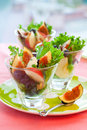 Salad with fruits and cheese Royalty Free Stock Image