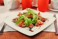 Salad with gammon and figs Royalty Free Stock Photos