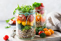 Salad in glass jar with quinoa Royalty Free Stock Photo