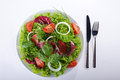 Salad healthy on plate with cutlery Stock Photos