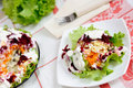 Salad with herring and vegetables Stock Photo