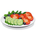 Salad illustration of fresh vegetable Royalty Free Stock Photo