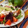 Salad with king prawns fresh vegetables tomatoes beetroots decorated slices of lemon presented on a white plate Royalty Free Stock Photography