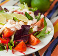 Salad with king prawns fresh vegetables tomatoes beetroots decorated slices of lemon presented on a white plate Royalty Free Stock Photos