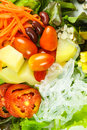 Salad with lettuce and fresh vegetable close up Royalty Free Stock Images