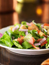 Salad with lettuce tomato and croutons photo of a has copy space above Royalty Free Stock Photography