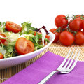Salad lunch with tomato and cheese Royalty Free Stock Images