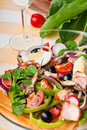 Salad Nicoise with salmon and anchovies Royalty Free Stock Photography