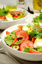 Salad nicoise with tomatoes green beans eggs and anchovies Stock Image