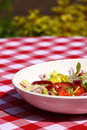 Salad outdoors on table Stock Photography