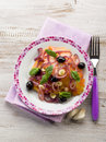 Salad ox heart tomatoes onions olives garlic Stock Image