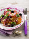 Salad ox heart tomatoes onions olives garlic Royalty Free Stock Photography