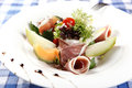 Salad with parma ham and fruits Royalty Free Stock Photography