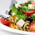 Salad with pasta and feta cheese Royalty Free Stock Images