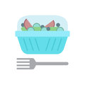 Salad plastic container and fork flat icon, vector sign, colorful pictogram isolated on white.