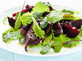 Salad plate with beet lettuce shallow dof Stock Photo