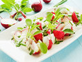 Salad plate with radish cottage cheese shallow dof Royalty Free Stock Image
