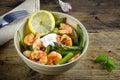Salad from prawn shrimp, green asparagus, arugula, garlic, parsl Royalty Free Stock Photo