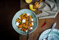 Salad with pumpkin chickpea and feta healthy food style vintage selective focus Royalty Free Stock Image