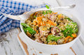 Salad with quinoa and seafood in bowl. Royalty Free Stock Photo