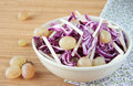 Salad of red cabbage with apples and grapes Royalty Free Stock Photo
