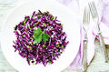 Salad of red cabbage with onions and greens Royalty Free Stock Photo