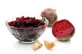 Salad of roasted beets in glass salad bowl. Royalty Free Stock Image
