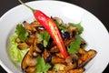 Salad from roasted eggplants