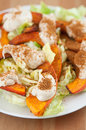 Salad with roasted pumpkin and tahini healthy Royalty Free Stock Image