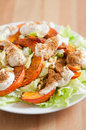 Salad with roasted pumpkin and tahini healthy Royalty Free Stock Images