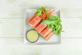Salad roll with crab stick Royalty Free Stock Photo