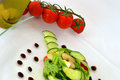 Salad sald with tomatoes beans and cucumber Royalty Free Stock Photos