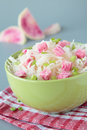 Salad of sauerkraut and pink radish in bowl Stock Photography