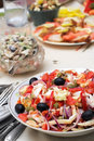Salad from seafoods with olives and vegetables Stock Photo