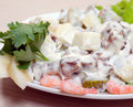 Salad seafoods.tunec,prawns,vegetables. Stock Photography