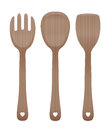 Salad Servers Wooden Cutlery Royalty Free Stock Photo