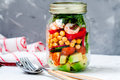 Salad with shrimp and chickpeas in the jar Royalty Free Stock Photo