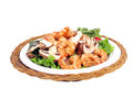 Salad with shrimp of lettuce tomato onion pepper and mushroom Royalty Free Stock Photography