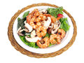 Salad with shrimp of lettuce tomato onion pepper and mushroom Royalty Free Stock Photos
