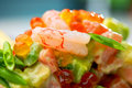 Salad of shrimps and avocado Royalty Free Stock Images