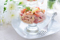 Salad from shrimps, avocado and cherry tomatoes with mayonnaise dressing