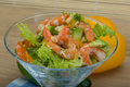 Salad with shrimps and avocado icberg yellow pepper Stock Photo