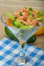 Salad with shrimps and avocado icberg yellow pepper Stock Photography