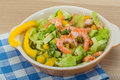 Salad with shrimps and avocado icberg yellow pepper Royalty Free Stock Photography