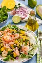 Salad with shrimps, mango, avocado and rice noodles. Royalty Free Stock Photo