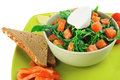 Salad with smoked salmon and fromage green in bowl on plate Royalty Free Stock Photography