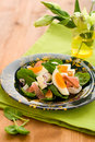 Salad with spinach,egg,ham Stock Photography