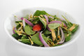 Salad spinach with strawberries and onion Stock Images