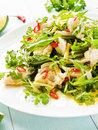 Salad with steamed sea bass fillet chili pepper rucola cilantro and ginger in olive and linseed oil shallow dof Royalty Free Stock Photos