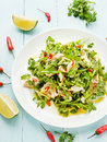 Salad with steamed sea bass fillet chili pepper rucola cilantro and ginger in olive and linseed oil shallow dof Royalty Free Stock Photography